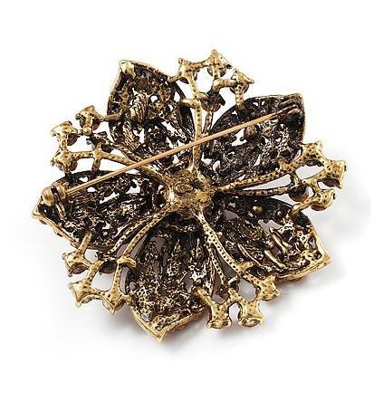 Vintage-Bronze Plated Red Rhinestone Crystal Flower Engagement Broche