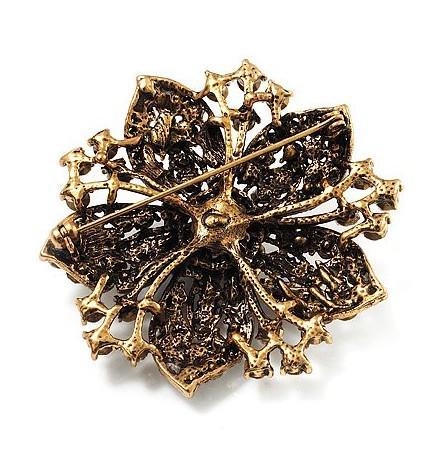 Broche vitoriano de cristal Vintage-Bronze chapeado claro Rhonestone flor