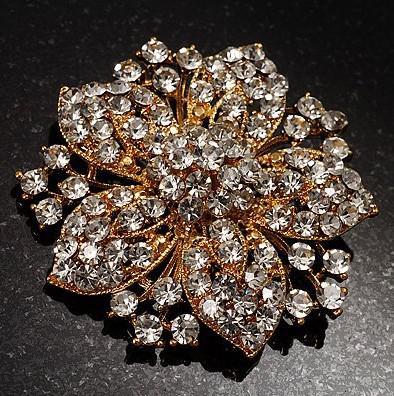 Sparkly-Vergulde Clear Rhonestone Crystal Flower Victorian Flower Pin Broche