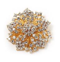 flores victorianas al por mayor-Brillante chapado en oro claro Rhonestone flor de cristal Victorian flor pin broche