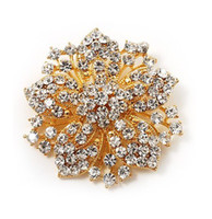 Wholesale Wholesale Victorian - Sparkly-Gold Plated Clear Rhonestone Crystal Flower Victorian Flower Pin Brooch