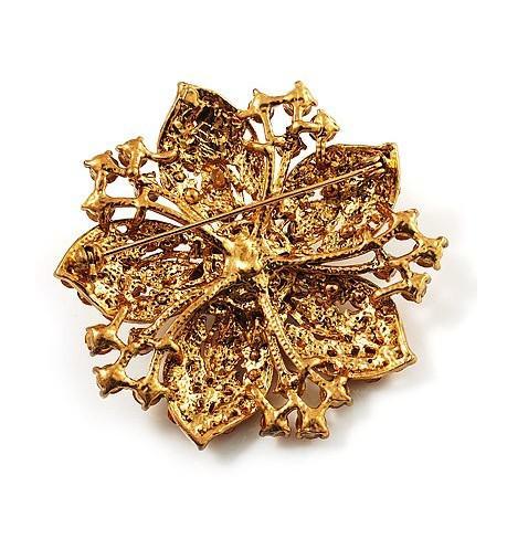 Sparkly-vergulde Gouden Rhonestone Crystal Diamante Vintage Stijl Bloem Brukoch