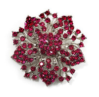 Rhodium Silver Plated Hot Pink Rhonestone Crystal Diamante Flower Party Brooch