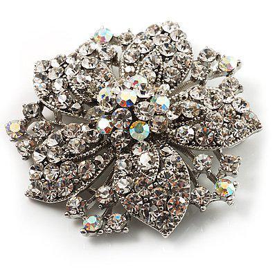 Vintage-Rhodium verzilverd helder en helder AB Rhonestone Crystal Diamante Flower Party Broche