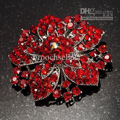 Vintage-Rhodium Zilver Rode Rhinestone Crystal Diamante Bloem Bruiloft Broche