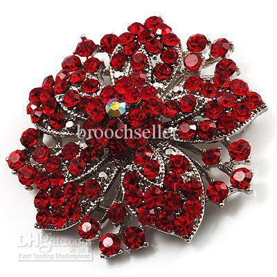 Broche de mariage fleur de cristal strass rouge-rhodium argent