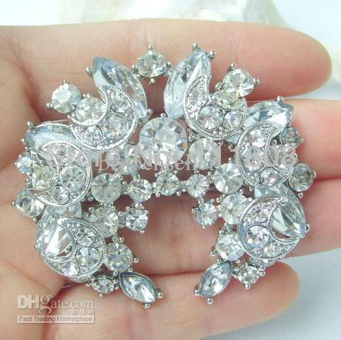 Sparkly-Clear Rhinestone Crystal Moon and Star Wreath Diamante party brooch