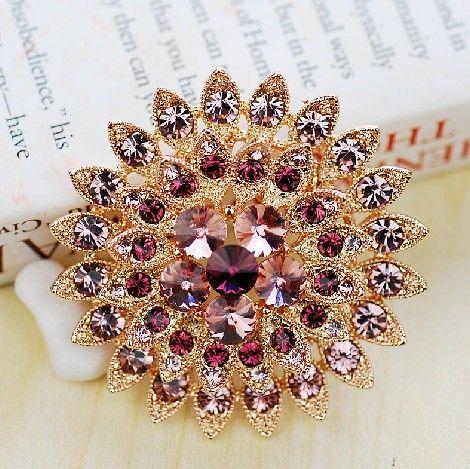 Banhado A ouro Roxo Rhinestone Cristal Flor De Sol Sparkly Diamante Broche