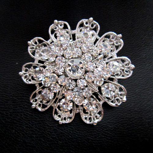 2 Polegada Estilo Vintage Rhodium Prata Banhado A Diamante Strass Cristal Diamante Flor Broche Buquê De Casamento Pinos