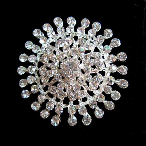 Spilla fiore in cristallo trasparente con strass brillanti e argento