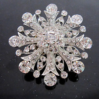 Wholesale Diamante Accessories - 2 Inch Vintage Style Rhodium Silver Plated Clear Rhinestone Crystal Diamante Bouquet Flower Brooch Wedding Accessory
