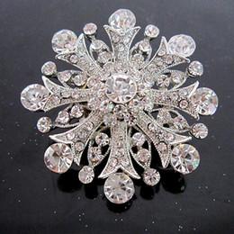 Wholesale Diamante Accessories - 2 Inch Vintage Style Rhodium Silver Plated Clear Rhinestone Crystal Diamante Bouquet Flower Brooch Wedding Accessory