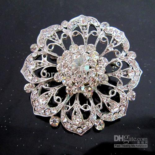 Broche grande de cristal chapeado de prata da flor do Rhinestone do Vintage-Ródio para o casamento