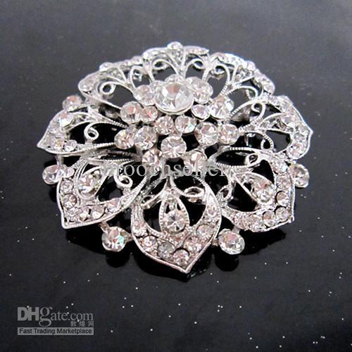 Broche grande cristalina de la flor del Rhinestone claro plateado plata de la vendimia-Rodio para casarse