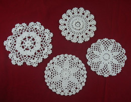 $enCountryForm.capitalKeyWord NZ - wholesale 100% cotton hand made crochet doily table cloth 4 designs 11 colors custom cup mat round 14-20cm crochet applique 20PCS LOT tmh414
