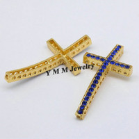 25x48mm Gold Plated Sideways Cross Conectores Blue Rhinestone Fashion Jewelry Findings 20pcs Wholesale