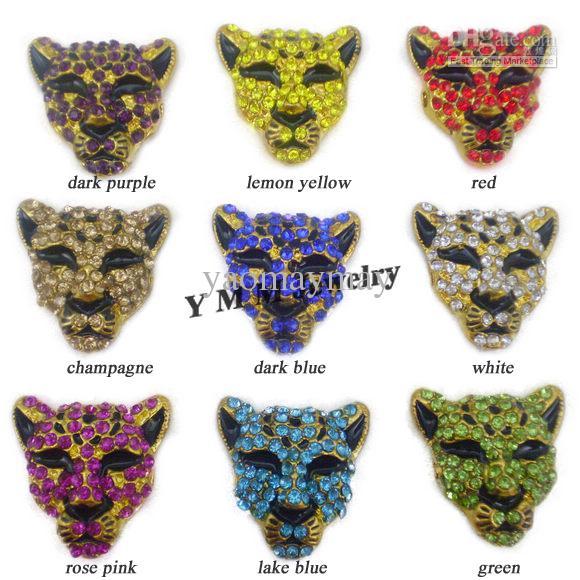 I connettori all'ingrosso della testa del leopardo del rhinestone adattano il braccialetto DIY colori misti