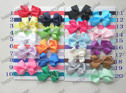 Wholesale Stretchy Lace Hair - 50pcs Boutique DIY Grosgrain Ribbon bowknot lace bow Stripe glued to Iridescent headband shimmery soft stretchy Elastic hair head 20color