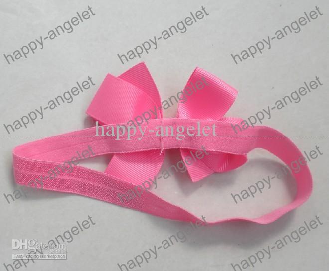 Boutique DIY Grosgrain Ribbon bowknot lace bow Stripe glued to Iridescent headband shimmery soft stretchy Elastic hair head