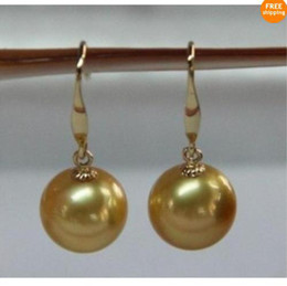 Wholesale South Sea Gold Loose Pearl - PAIR OF 9-10MM AUSTRALIAN SOUTH SEA GENUINE GOLDEN LOOSE PEARL EARRING 14K