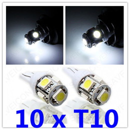 Wholesale 158 Led - 10 x Xenon White T10 Wedge 5-SMD 5050 LED Light bulbs For License Plate Lights 192 168 194 W5W 2825 158