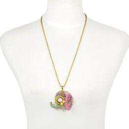 Wholesale Long Elephant Pendant Necklace - Bohemian style rainbow beads beadwork handmade elephant animal charm pendant necklace for women long chain necklace NL-2100