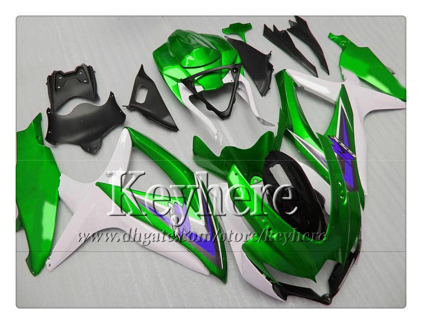 Grátis kit de carenagem para 7 presentes para SUZUKI GSXR600 R750 08 09 10 GSXR 600 750 2008 2009 2010 carenagem K8 r8d novo verde branco preto parte da motocicleta