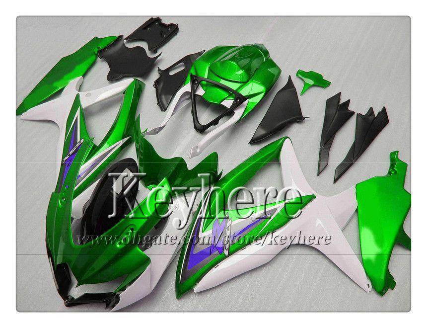 Gratis 7 geschenken Fairing Kit voor Suzuki GSXR600 R750 08 09 10 GSXR 600 750 2009 2009 2010 K8 Backings R8D Nieuwe groene witte zwarte motorfiets