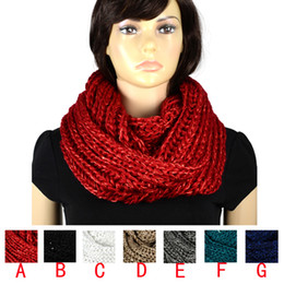 Wholesale Sequin Scarfs - Women scarf Thicken design with Sequins element yarn knit winter warm infinity scarf loop endless ,7colors NL-2054