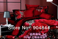 Wholesale Satin Quilts For Beds - red sexy beautiful rose flower floral prints duvet quilt cover sets 4pc for girls Full Queen comforter bedding sets 4pc bedlinen