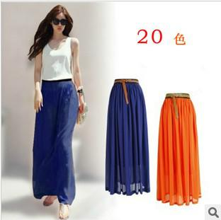 2017 2013 Hot Selling Ladies' Chiffon Long Skirt Colored Chiffon ...