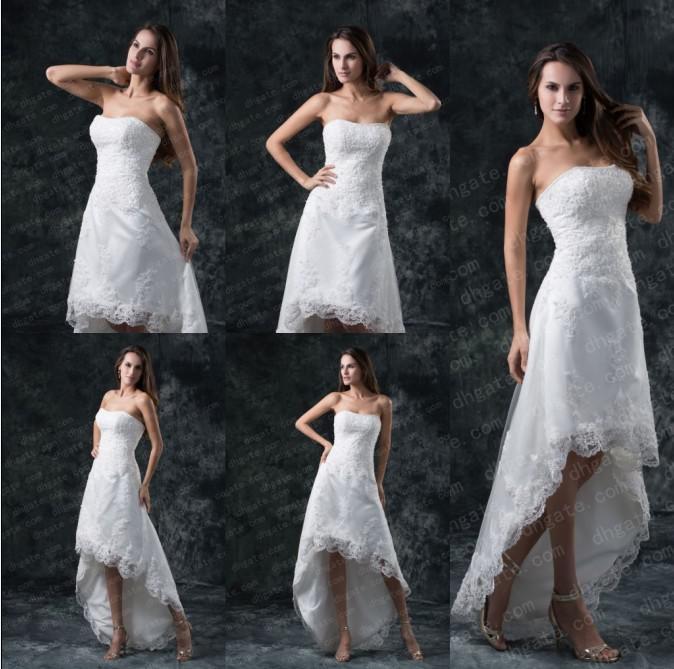 2017 Strapless Bateau A Line Hi Lo Wedding Dresses Lace Strapless ...