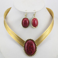Wholesale Turquoise Gold Costume Jewelry - Wholesale fashion costume jewelry set personalized gem african necklace + earring LM_S038 FREE SHIPPING