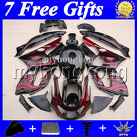 7gifts + Tank Red flames black Para YAMAHA Thundercat YZF600R 1996 1997 1998 1999 2000 96-07 YZF 600R 2004 2005 2006 2007 MK25 Fairing Kit