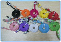 Wholesale Galaxy S4 S Iv - Noodle 1M Colorful Flat Micro Usb Charger Cable for Samsung Galaxy S4 S IV i9500 Samsung i9300 N7100 100PCS LOT