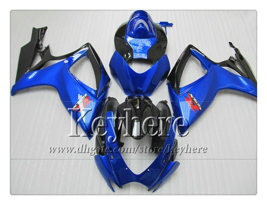 7 regali! kit carena iniezione SUZUKI 06 07 GSXR 600 750 K6 GSXR600 GSXR750 2006 2007 carene r5b vendita calda blu nero parti del motociclo