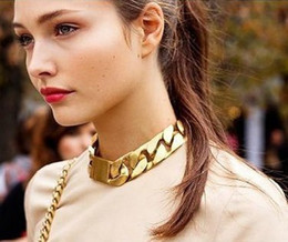 Wholesale Chunky Gold Necklace Wholesale - Fashion Chokers Alloy Chunky Twisted Link Chain Ladies' Statement Choker Men Unisex Necklace Collar Charm Jewelry gold color