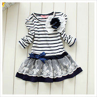 Wholesale organic baby clothing online - Baby Girls Cute Long Sleeve Striped Princess Lace Dress with Bowknot Flower Kids Cotton Clothing for Spring Autumn in stock
