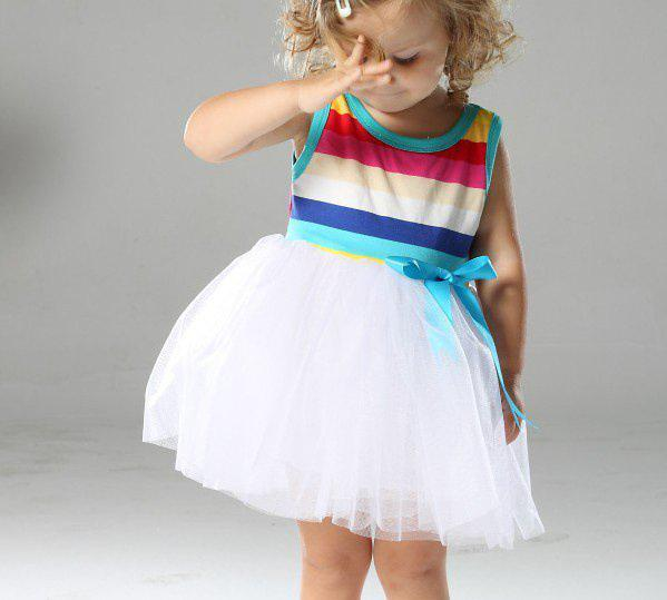 Vestidos do arco-íris meninas, meninas tutu vestidos, bebê Stripe bowknot vestidos atacado, 4 pçs / lote mix em tamanho grande frete grátis