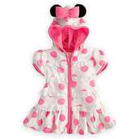 Wholesale Dress Polka Dot Pink Girls - 5pcs Wholesale Girls Summer Dresses 2013 Cartoon Minnie Children Outfit Pink Polka Dot Lovely Girl Dress Hooded, Free Shipping