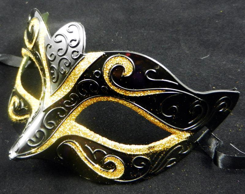 Decorative Masquerade Masks Gold Drawing Black Mask Half Face Halloween Party Mask Venetian 23