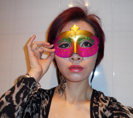 Wholesale Halloween Pretty Masks - On Sale Sexy Woman Masks Pretty Half Face Party Mask masquerade party props Halloween mask wedding supplies mix color free shipping