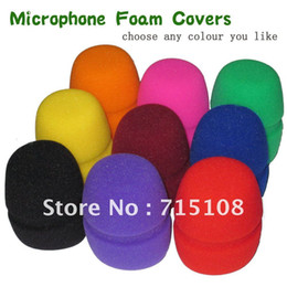 microphone cover foam NZ - FREE SHIPPING 10pcs LOT Flat Microphone Windscreen Foam Cover Microphone Grill Cover Audio Mic Shield cap sponge high quality