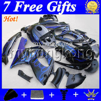 Wholesale yamaha yzf thundercat fairing - 7gifts+Tank For YAMAHA Thundercat YZF600R 96-07 Blue flames black YZF 600R MK26 YZF-600R 96 97 98 99 00 01 02 03 04 05 06 07 Fairing Kit