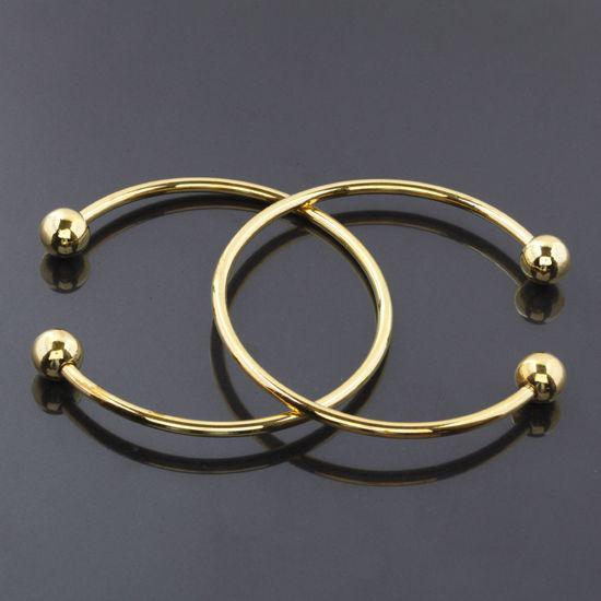 Wholesale - Free Shipping HOT DIY 20Pcs/lot 15-16cm Gold Plated SCREW END CUFF CHARM BRACELET BANGLE FIT HOLE BEADS Jewelry Findings