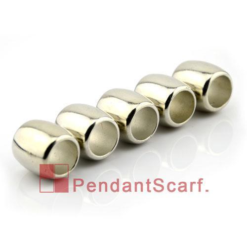 50 UNIDS / LOTE, Popular BRICOLAJE Joyería Bufanda Accesorios Shine Silver Plated Plastic CCB Oval Forma Slide Bails Tube, Envío Gratis, AC0071