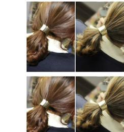 2019 ткань цветок волос галстук Новый шикарный дефиле волосы манжеты обернуть хвост пони группа металлический держатель кольцо зеркало галстук стрейч 4 шт./лот ,2 цвета необязательный Бесплатная доставка