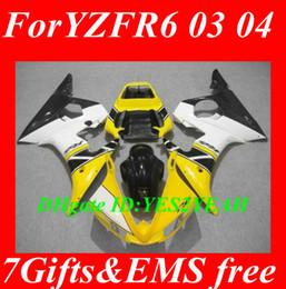 R6 giuntatura gialla online-Kit carrozzeria carena per YAMAHA YZFR6 2003 2004 2005 YZF R6 YZF-R6 YZF600 R6 03 04 05 carenature bianco giallo carrozzeria + regali YD34