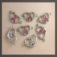 Wholesale Breast Cancer Connectors - 30pcs SILVER Plated PINK Crystal Rhinestones RIBBON BREAST CANCER AWARENESS love heart Connector Beads Bracelet jewelry findings