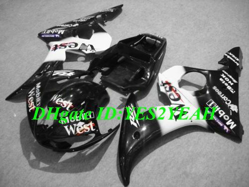 Kit carenatura YAMAHA YZFR6 2003 2004 2005 YZF R6 YZF-R6 YZF600 R6 03 04 05 carenature bianco nero carrozzeria + regali YD35
